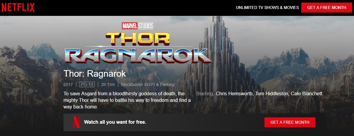 watch Thor Ragnarok on Netflix