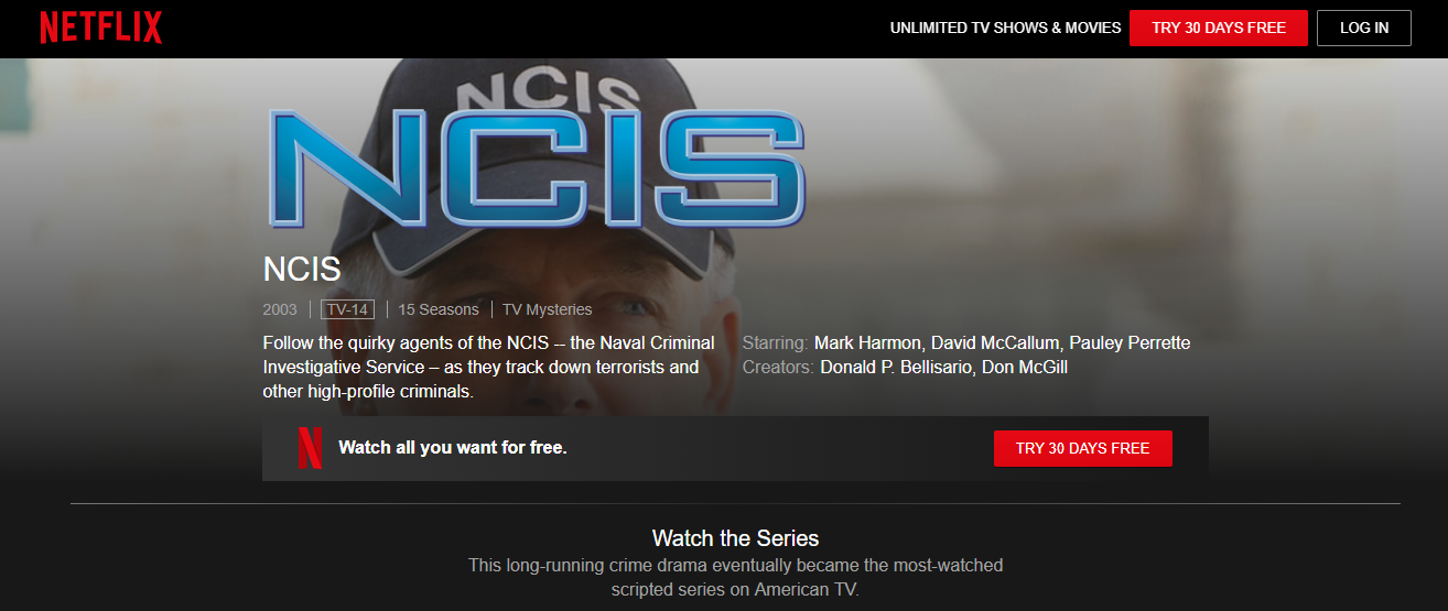 Watch NCIS on US Netflix