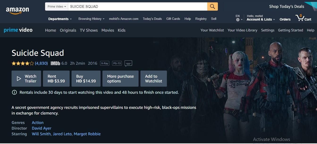 watch suicide squad online - Amazon Prime