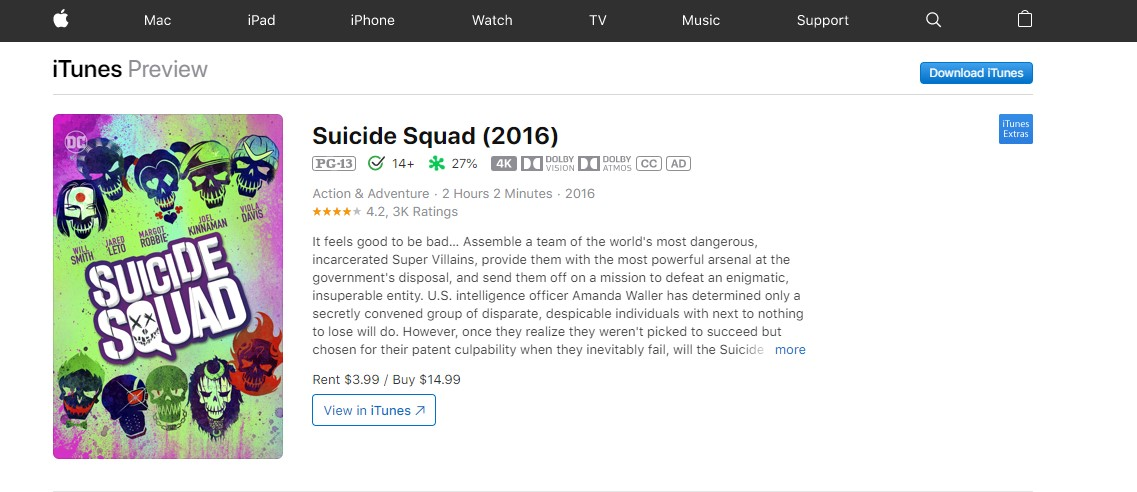 watch suicide squad online - iTunes
